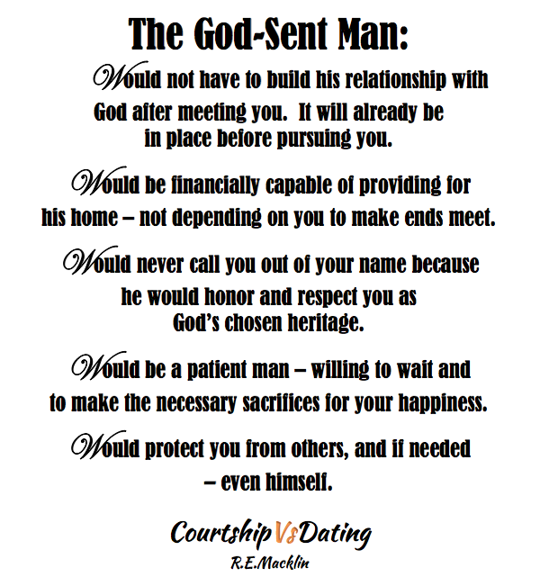 courting a woman vs dating Learn about biblical courtship vs worldly dating so that you can it's god will for a man and a woman to marry it's called dating or courting.